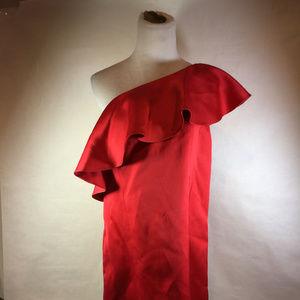 Zac Posen Red Satin One Shoulder Ruffle Dress 2